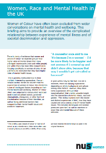 Women  race   mental health in the uk briefing