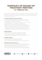 Board of trustees 25th february 2021
