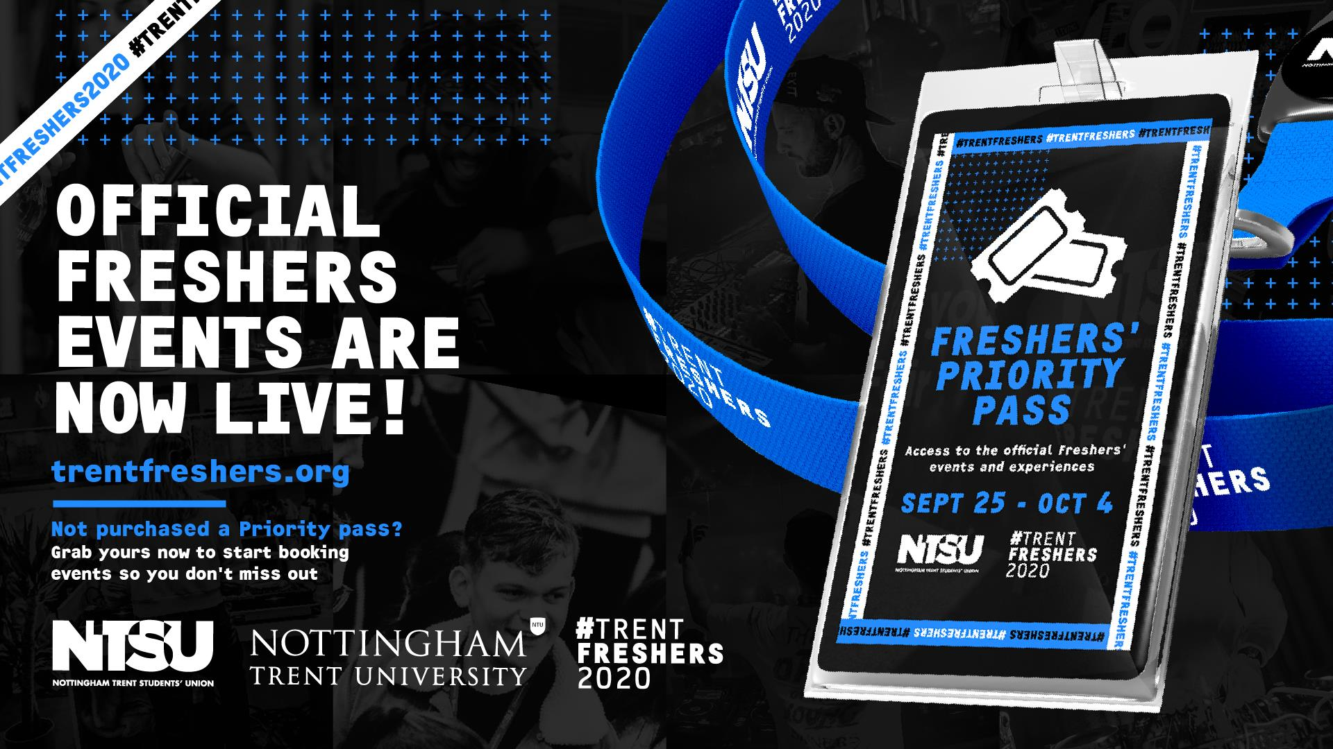 Official freshers events are now live! trentfreshers.org Not purchased a Priority pass? Grab your now to start booking events so you don't miss out
