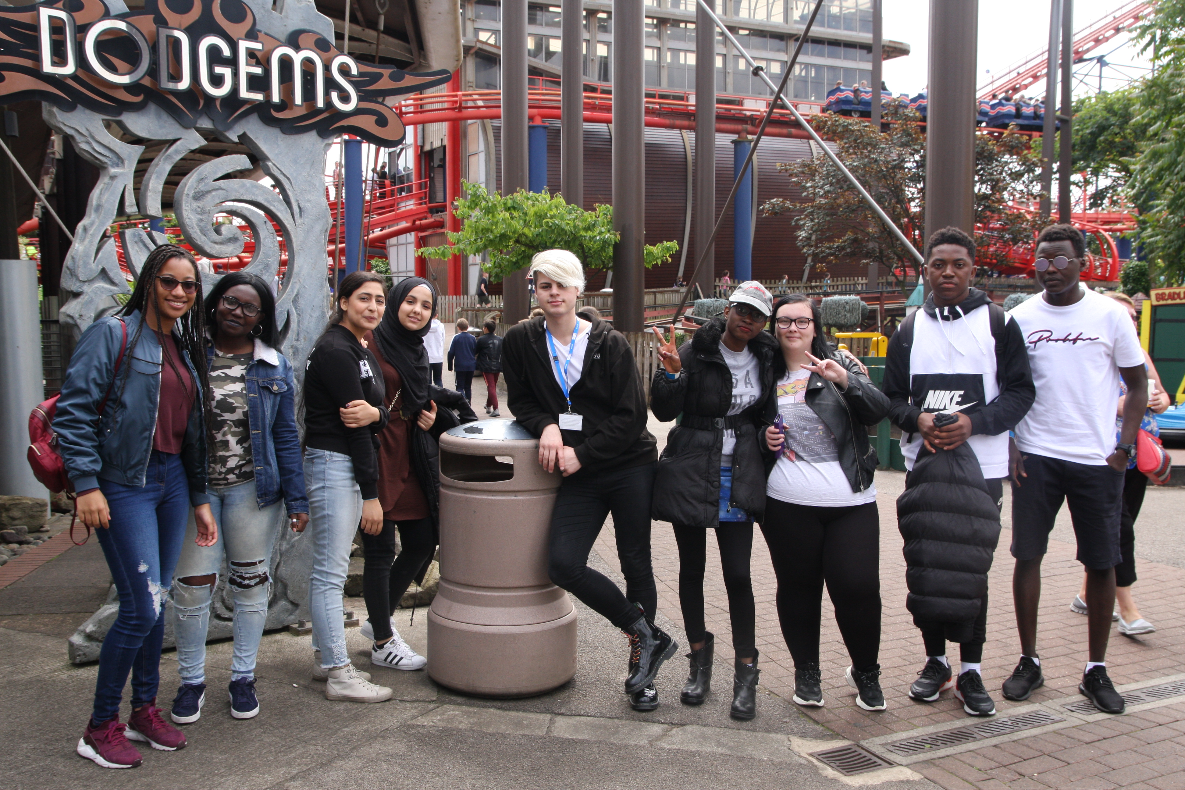 Students in a group on a trip to Blackpool Pleasure Beach