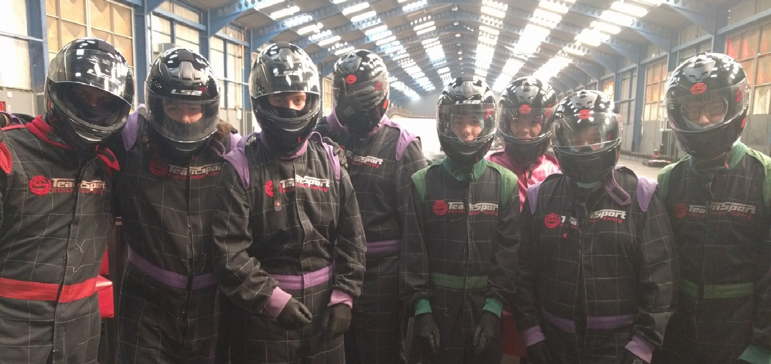 Some students are dressed ready to go go-karting