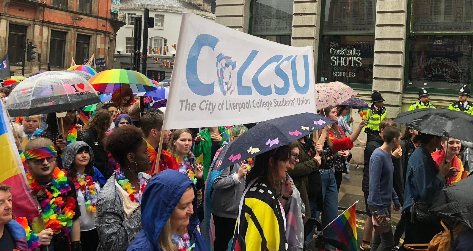 Students marching at the Pride March 2019