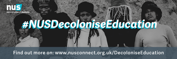5 black people looking really cool, looking at the camera on a black and white picture with the text #NUSDecoloniseEducation