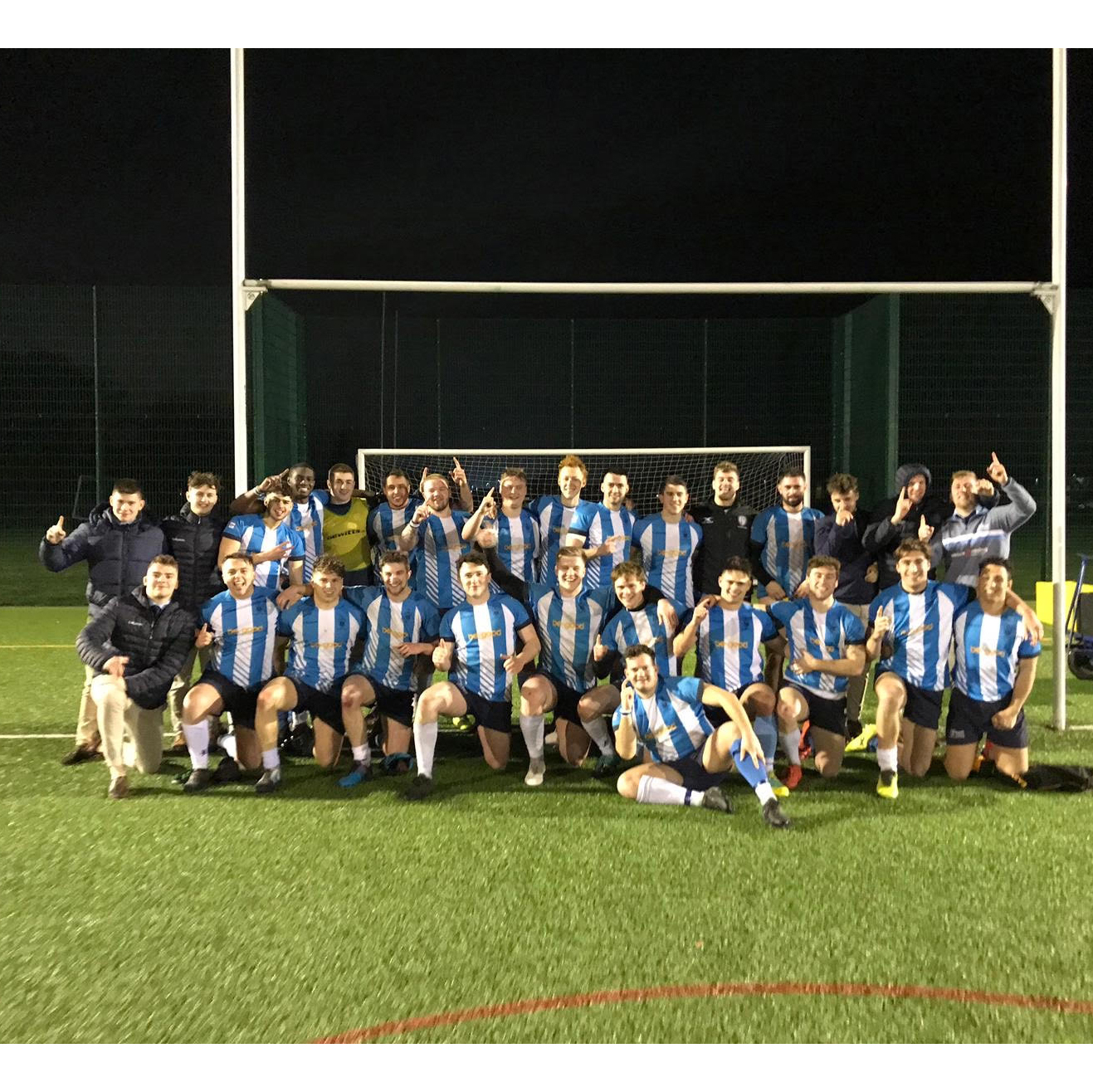 Photo of the Rugby Union team under some posts