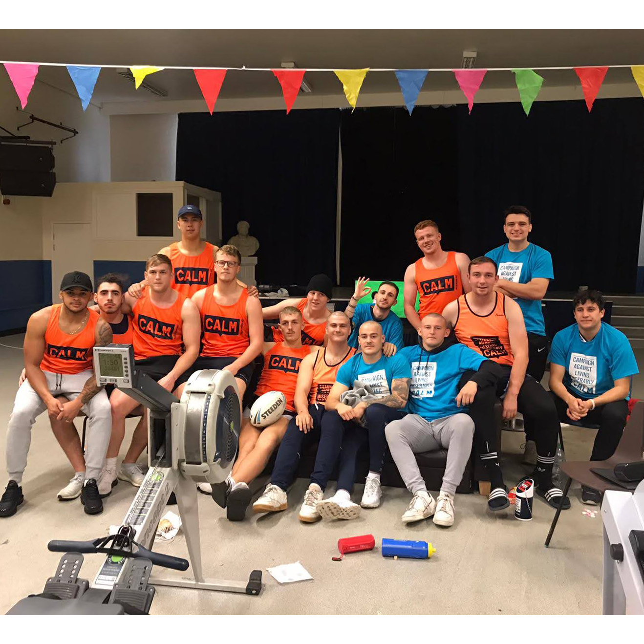 Picture of the Rugby League team after a charity rowing session