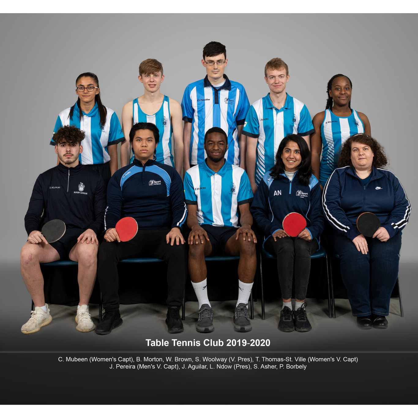 Full team photo of the Table Tennis Club