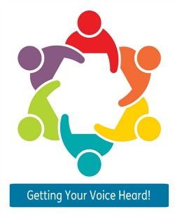 Advocacy Image - Picture of 6 human characters, all of different colours, sitting next to each other to form a circle. Text says Getting Your Voice Heard