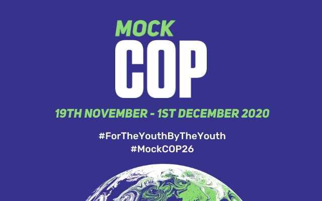 Purple graphic with the Mock COP26 and the text 19th November - 1st December 2020
