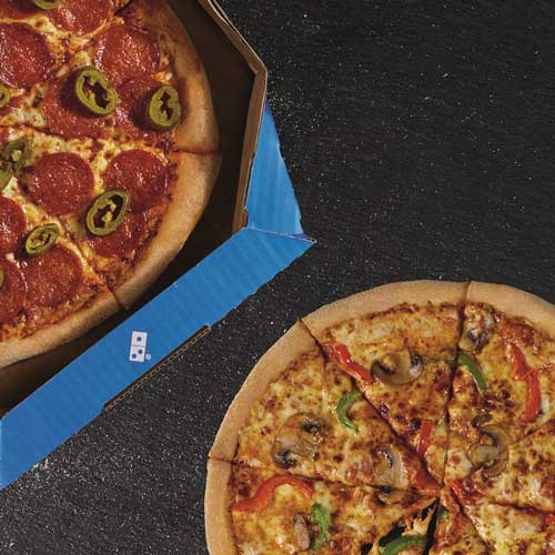 An image of a pizza from Domino's