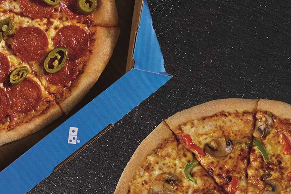 A picture of some pizza from Domino's