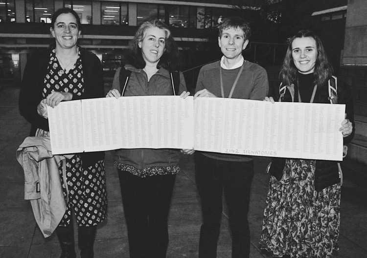 LU Staff stand in Alexandra Square with the petition, ready to handover to the university