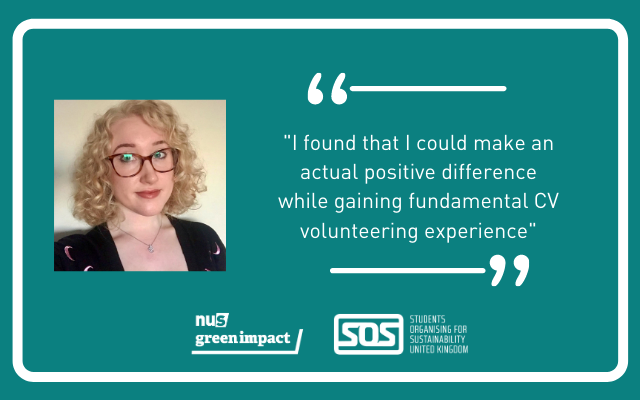 """Picture of Holly with the quote """"I found that I could make an actual positive difference while gaining fundamental CV volunteering experience"""""""