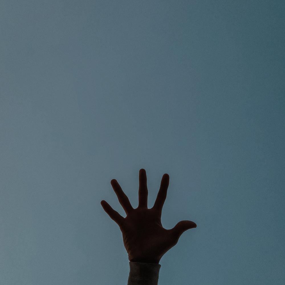 a picture of a raised hand