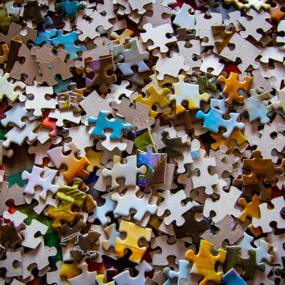 An image of a jigsaw puzzle before being assembled