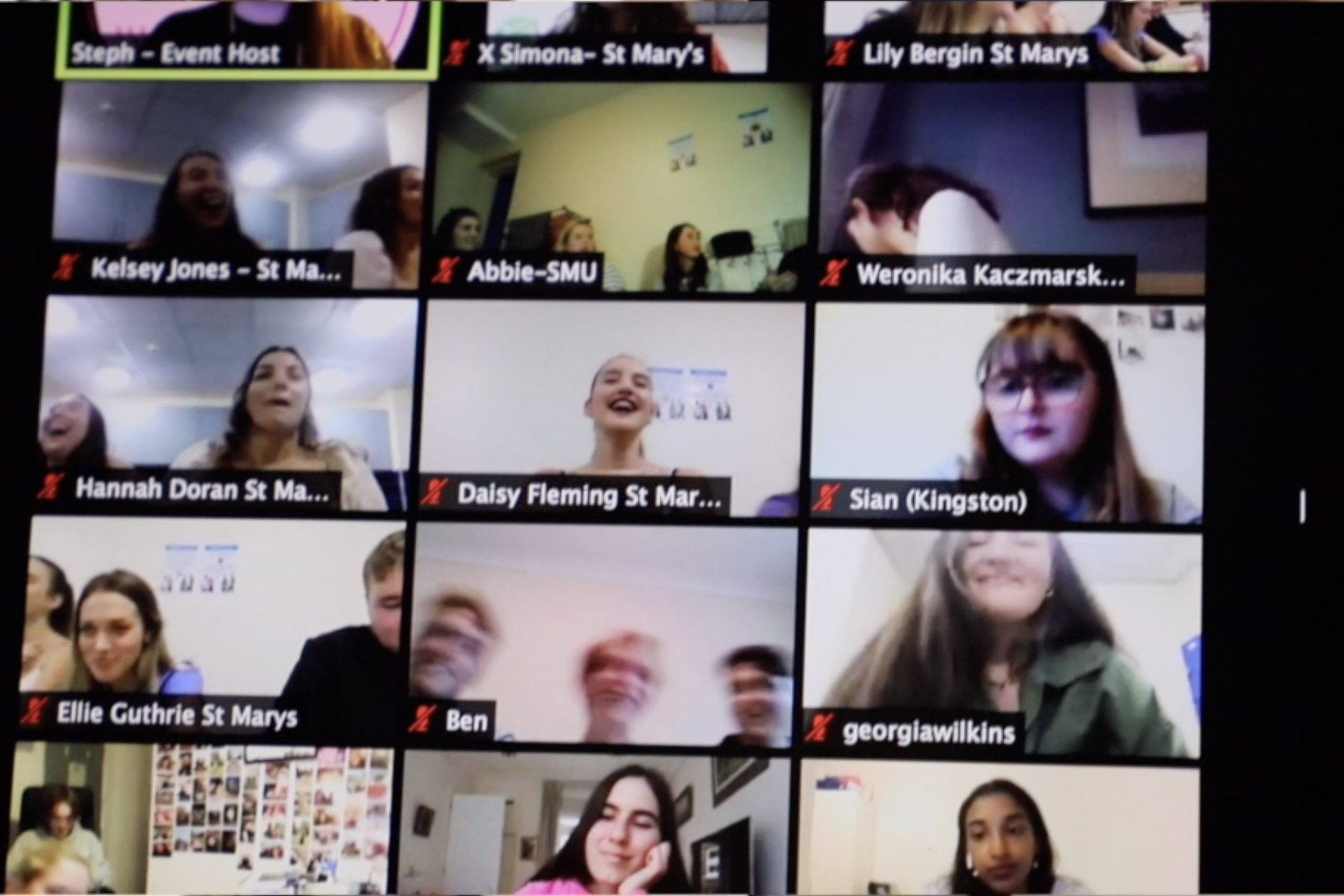 Some students socialising on Zoom