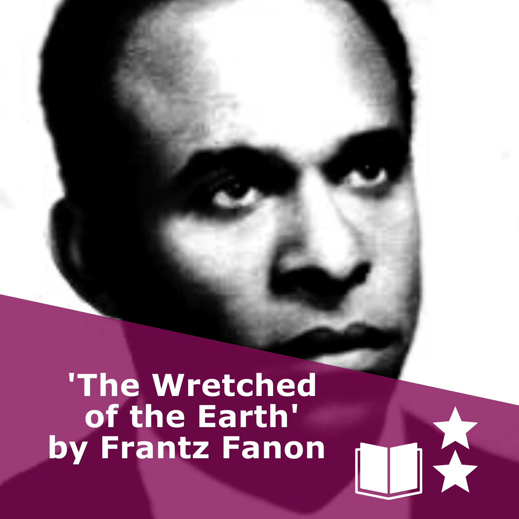 Picture of Frantz Fanon in black and white. Title 'The Wretched of the Earth'. It is a book, rated two stars.