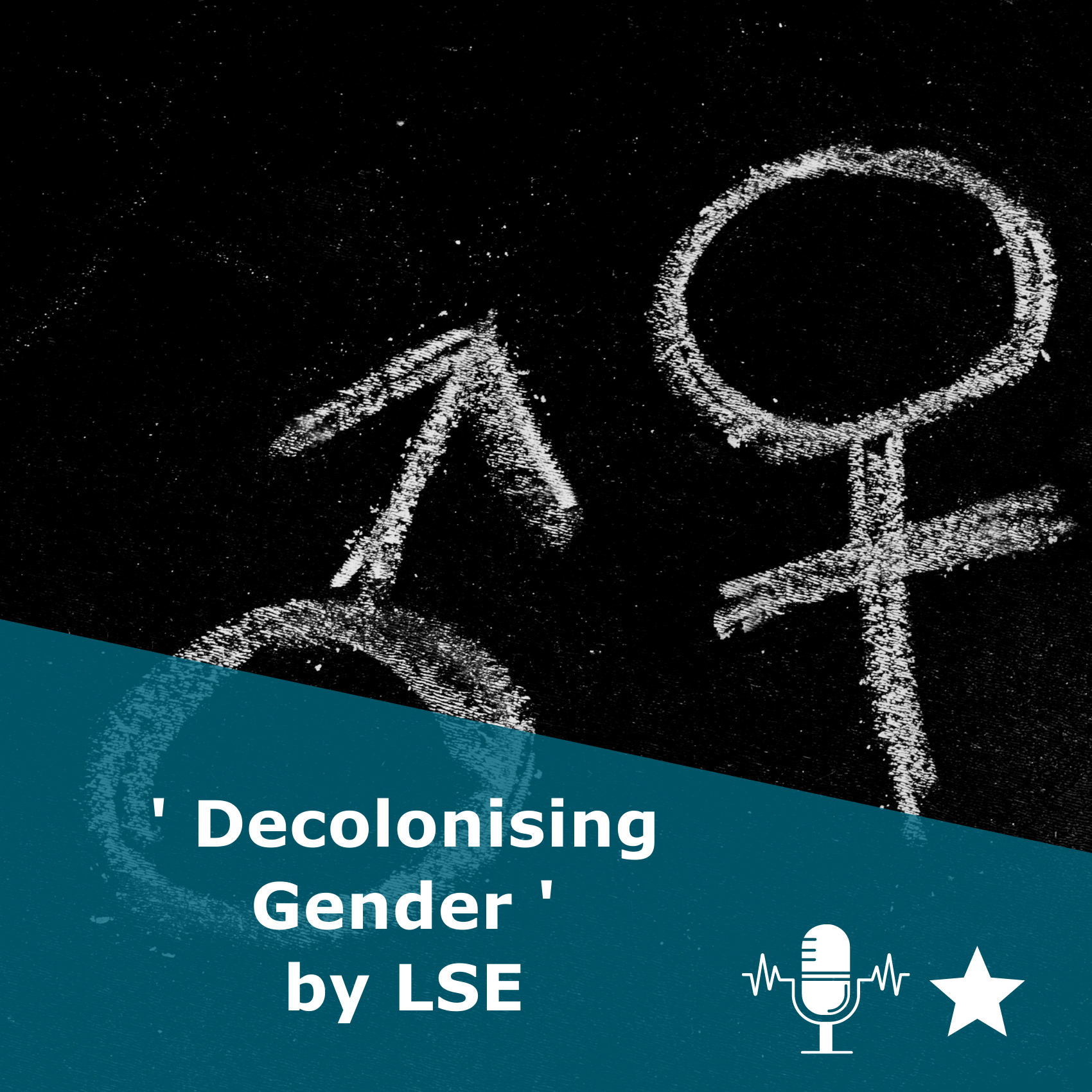 Picture of gender symbols in black and white. Title 'Decolonising Gender' by LSE. It is a podcast rated 1 star.