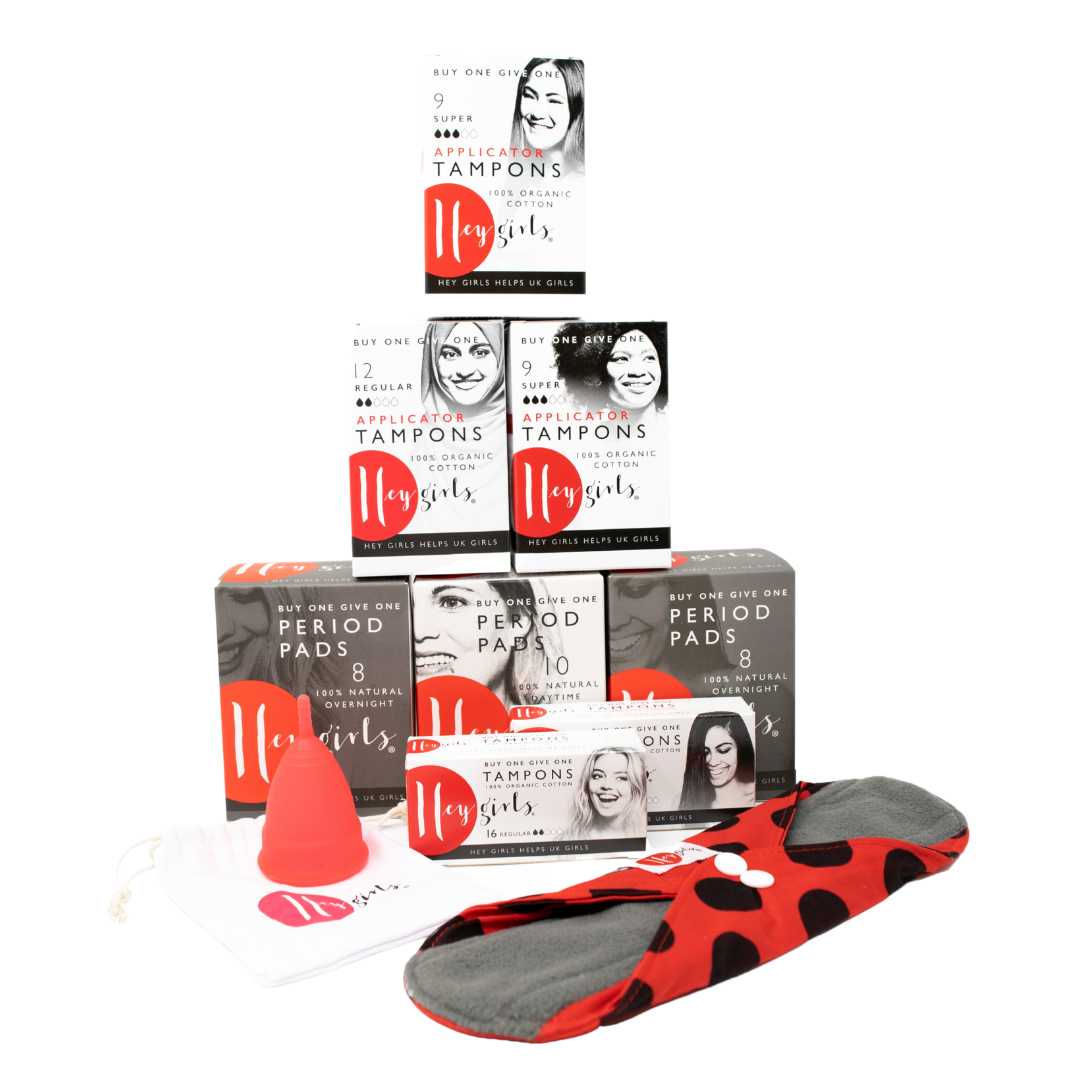 An image of some of the products available, including winged pads and disposable tampons