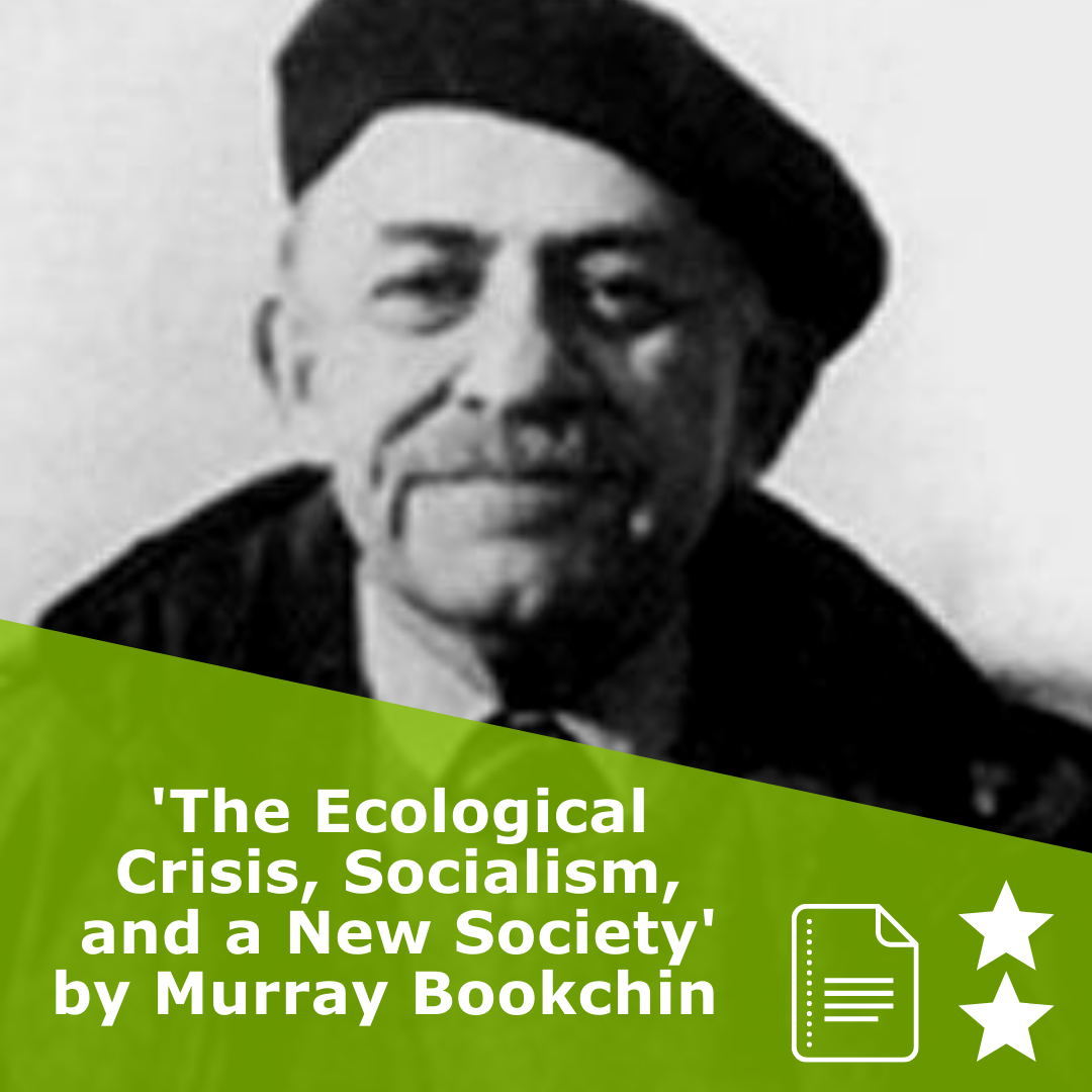 Picture of Murray Bookchin in black and white. Title 'The Ecological Crisis, Socialism, and a New Society'. It is an article rated 2 stars