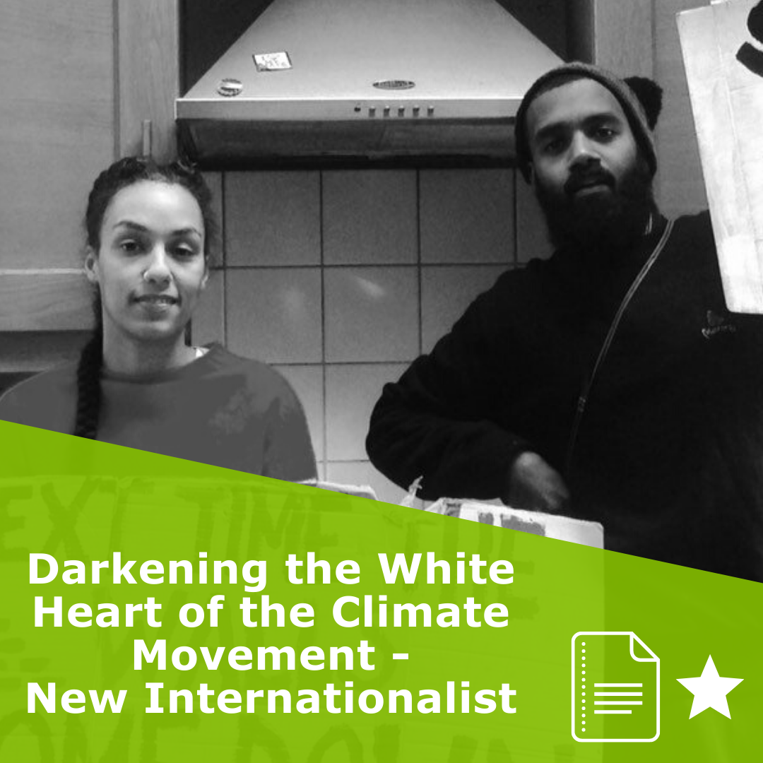 Picture of the authors. Title Darkening the White Heart of the Climate Movement - New Internationalist. It is an article rated 1 star