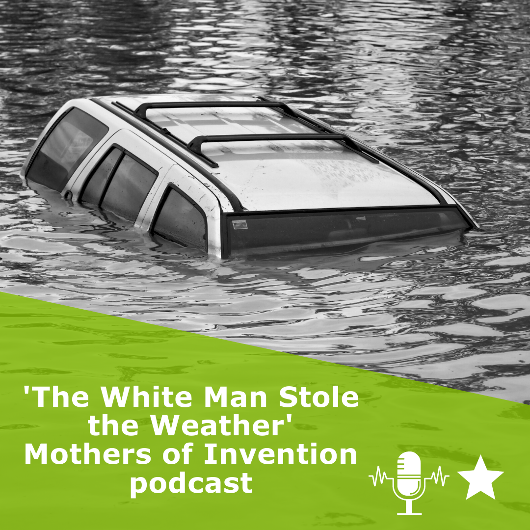 Picture of a door drowing in black and white. Title 'The White Man Stole the Weather'. It is a podcast by Mothers of Invention podcast, rated 1 star