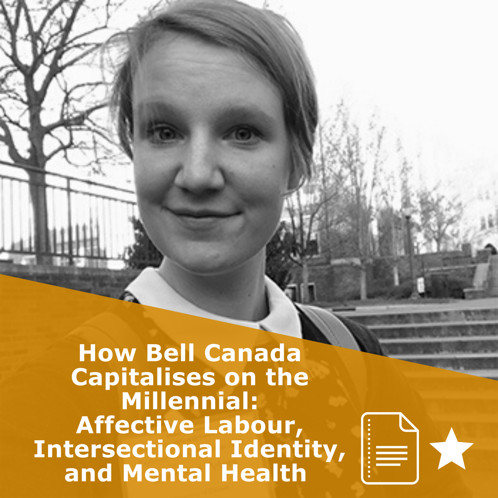 Title 'How Bell Canada Capitalises on the Millennial: Affective Labour, Intersectional Identity, and Mental Health'. It is an article rated 1 star.