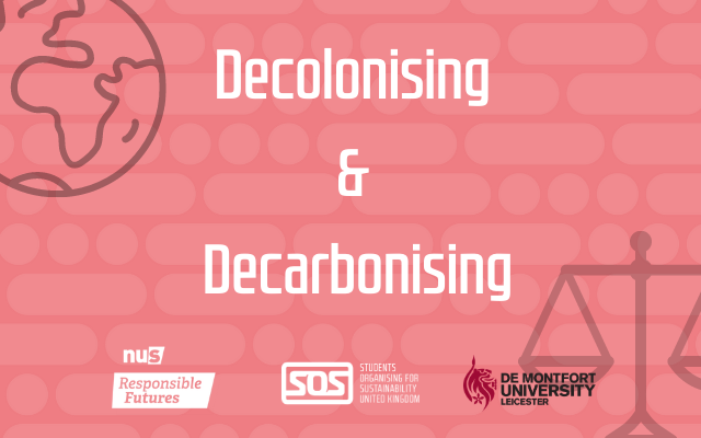 Image saying decolonising and decarbonising with an outline of the earth and a scale
