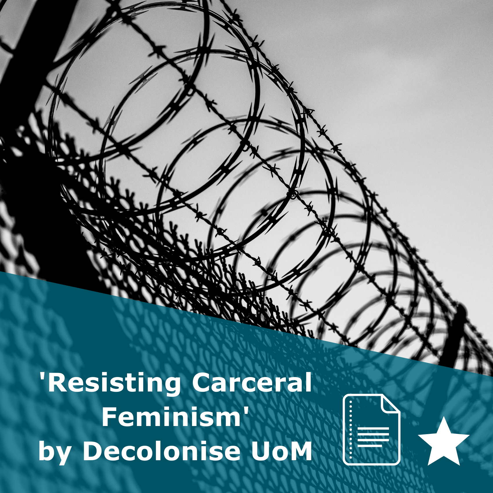 Picture of a prison. Title Resisting Carceral Feminism by Decolonise UoM. It is an article rated 1 star.