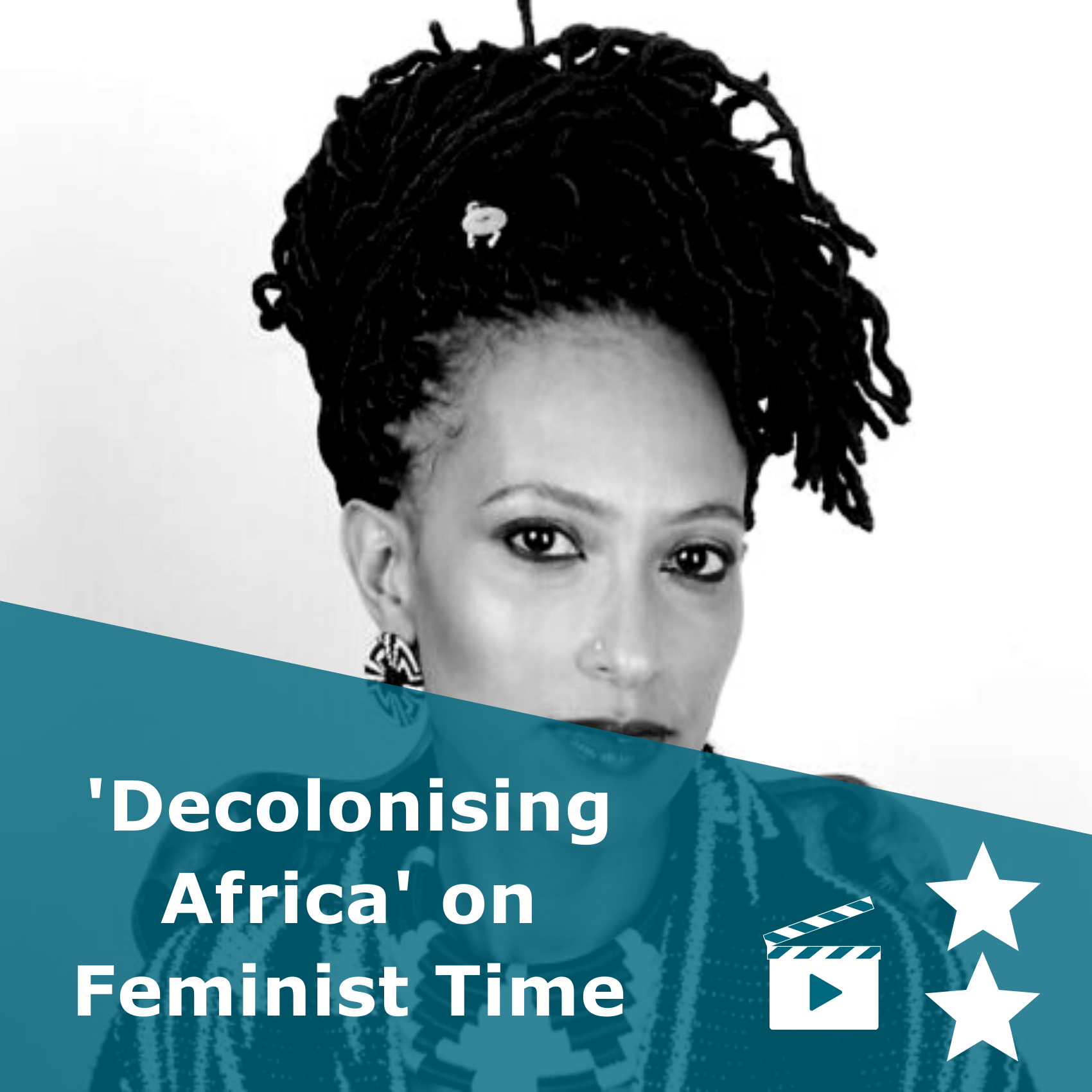 Picture of Jessica Horn in black and white. Title 'Decolonising Africa on Feminist Time'. It is a video rated 2 stars.