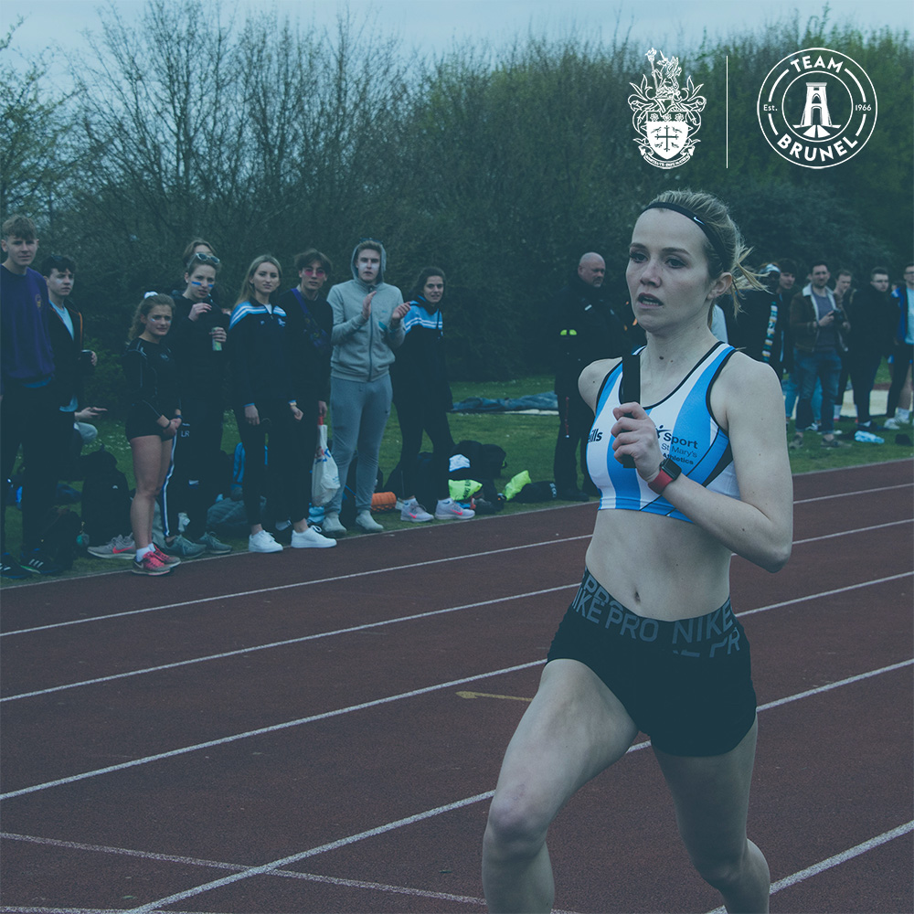 An image of a St Mary's student running a relay race at Varsity 2019