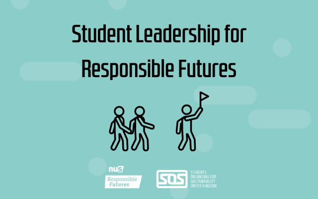 Graphic saying student leadership for Responsible Futures with an image of a stick figure leading other stick figures and the SOS-UK and Responsible Futures logo below.