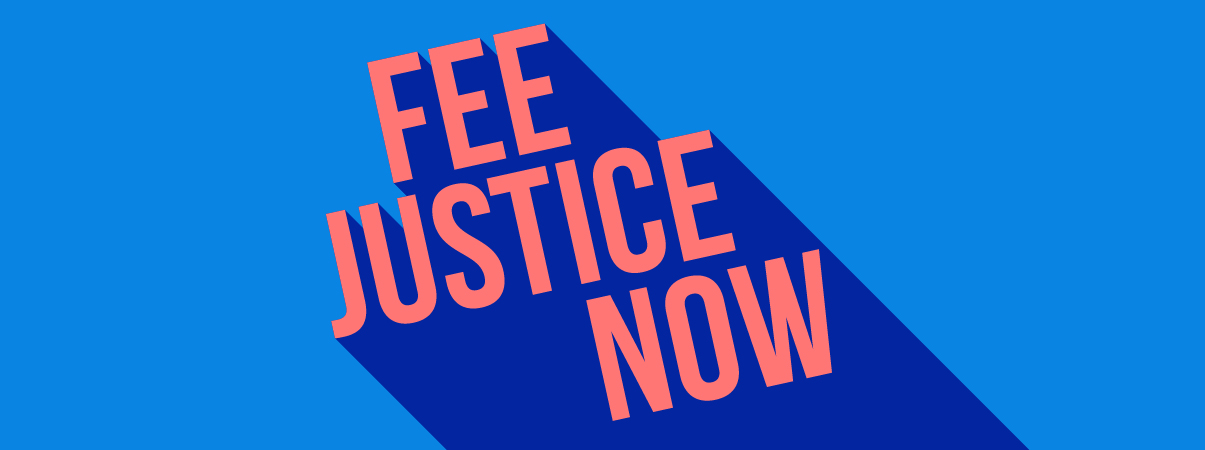 blue image with text 'Fee justice now'