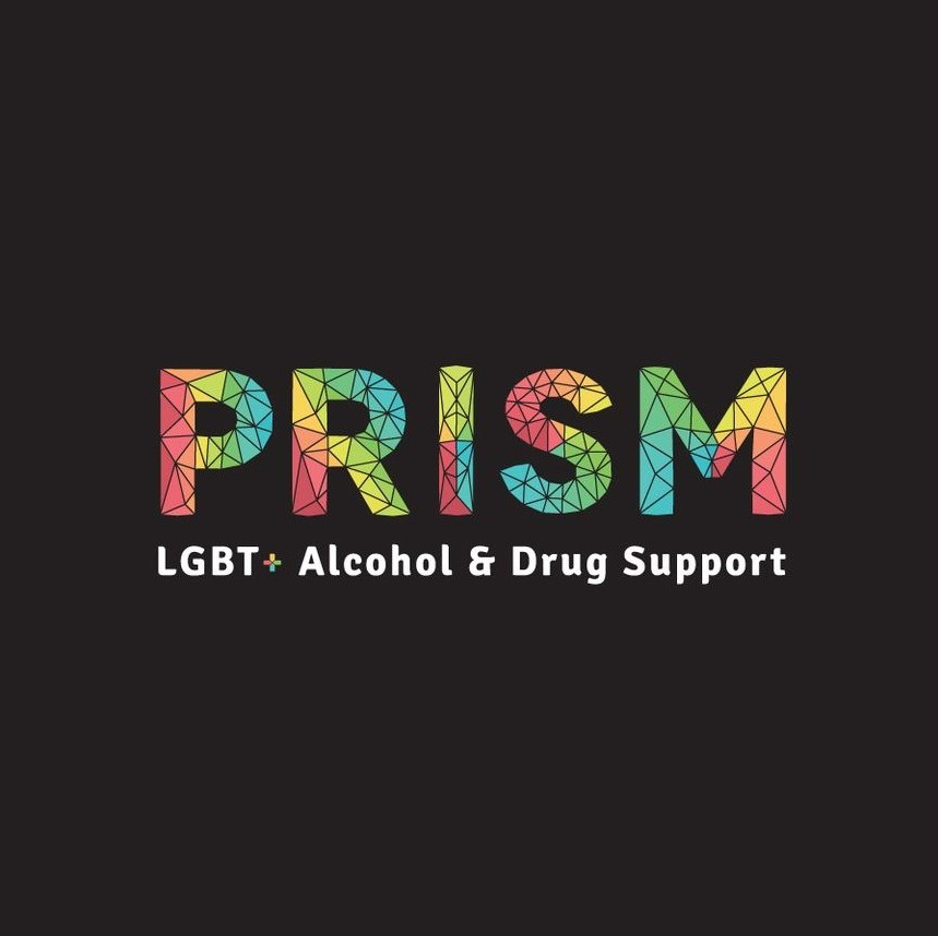 prism logo with text 'LGBT+ Alcohol & Drug Support'