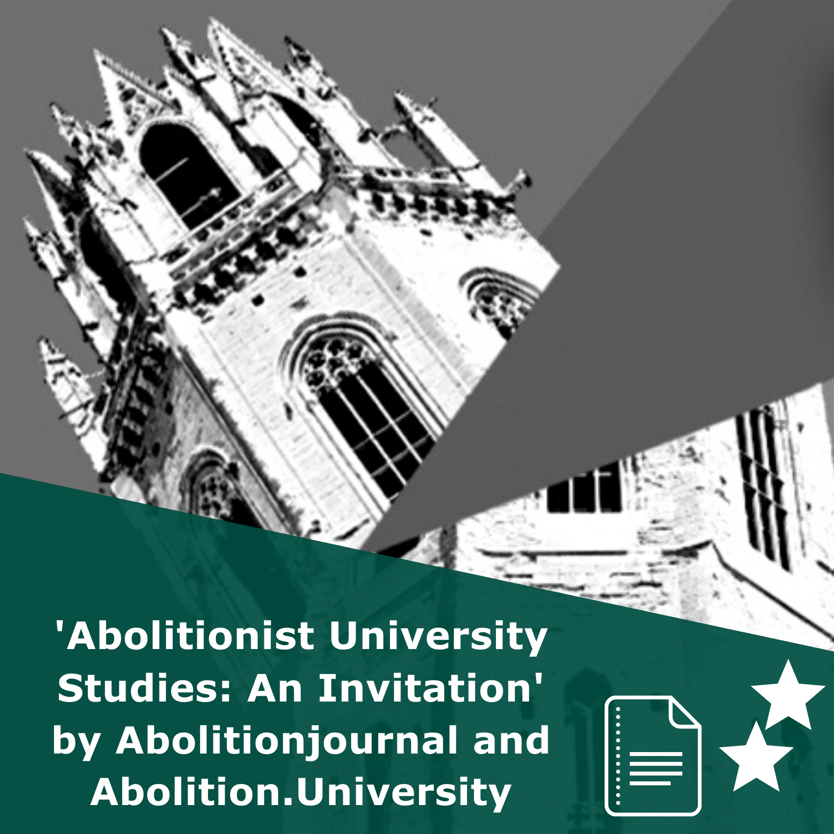Picture of a university building being stricked by lightning in black and white. Title Abolitionist University Studies: An Invitation. It is an article rated 2 stars