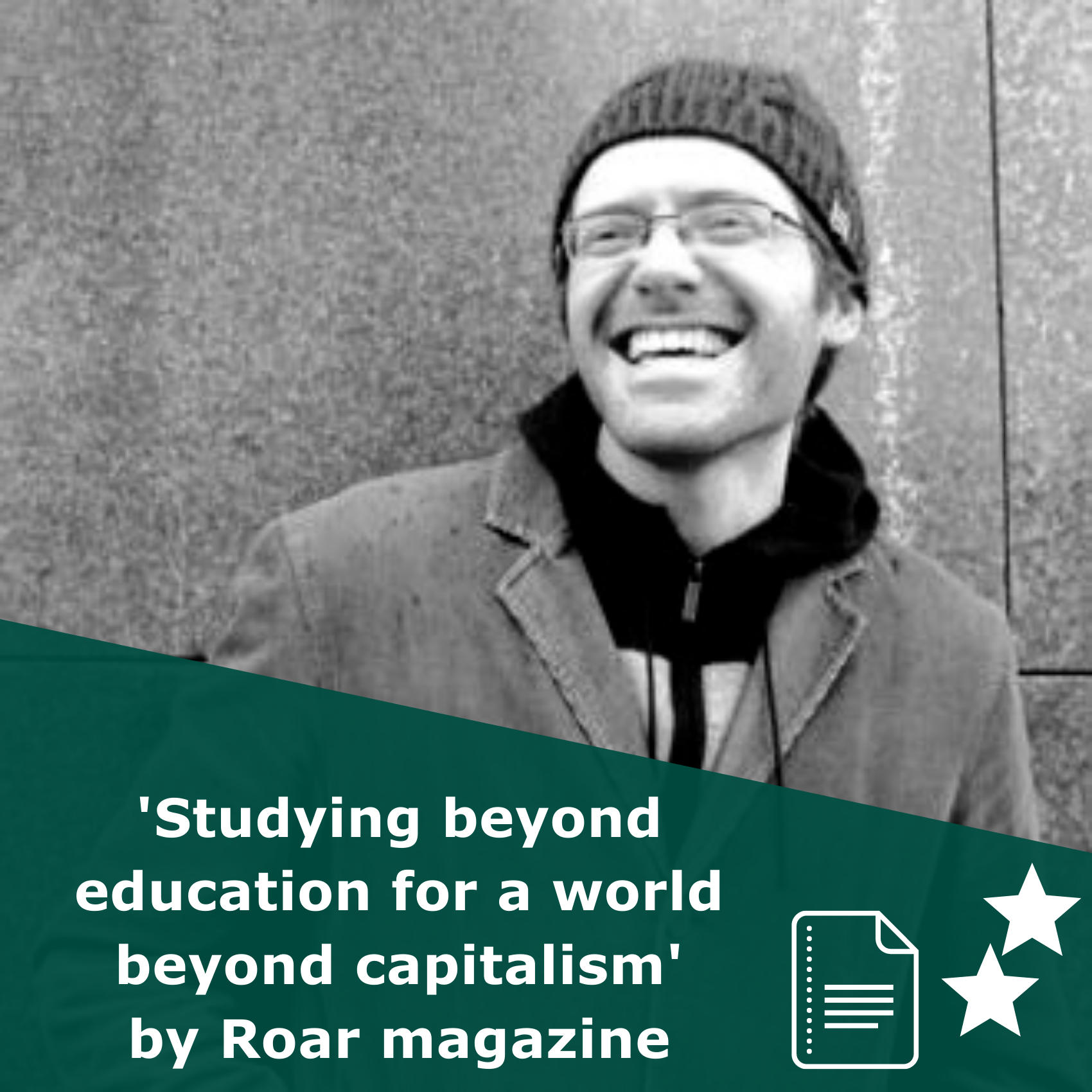 Picture of Eli Meyerhoff, the author, in black and white. Title Studying beyond education for a world beyond capitalism. It is an article rated 2 stars