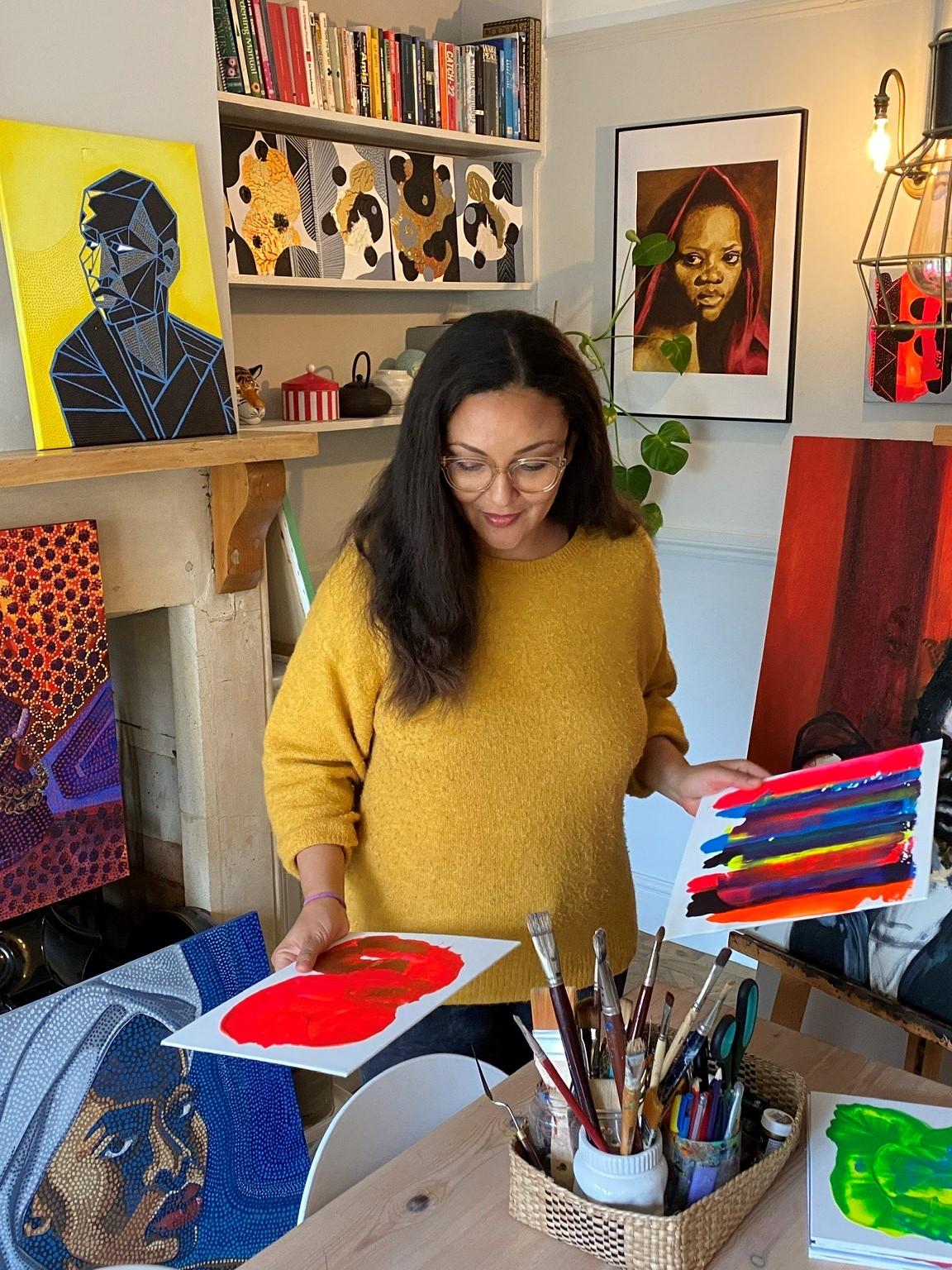 Natasha Sweeting in her painting studio