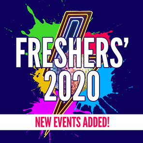 An image saying freshers 2020 with a lightning bolt and disco ball in the background with some text saying new events added over the top