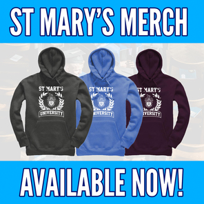 An image of 3 official st marys hoodies reading st marys merch available now