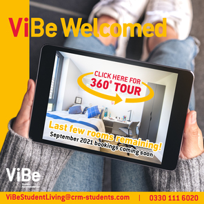 An advertisement for vibe student living who are a student accommodation company