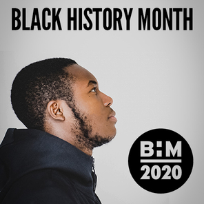 A picture of a student and the words black history month and the bhm logo