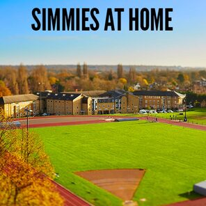 A picture of the st marys campus and the words simmies at home written on it