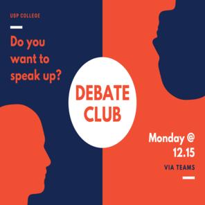 Orange and dark blue debate team poster