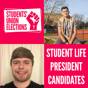 A picture of student life president candidates ahmed el hana and ben wilkins