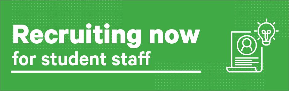 Recruiting now student staff homne banner