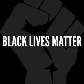 A black background with a fist over it with the text black lives matter overlaid