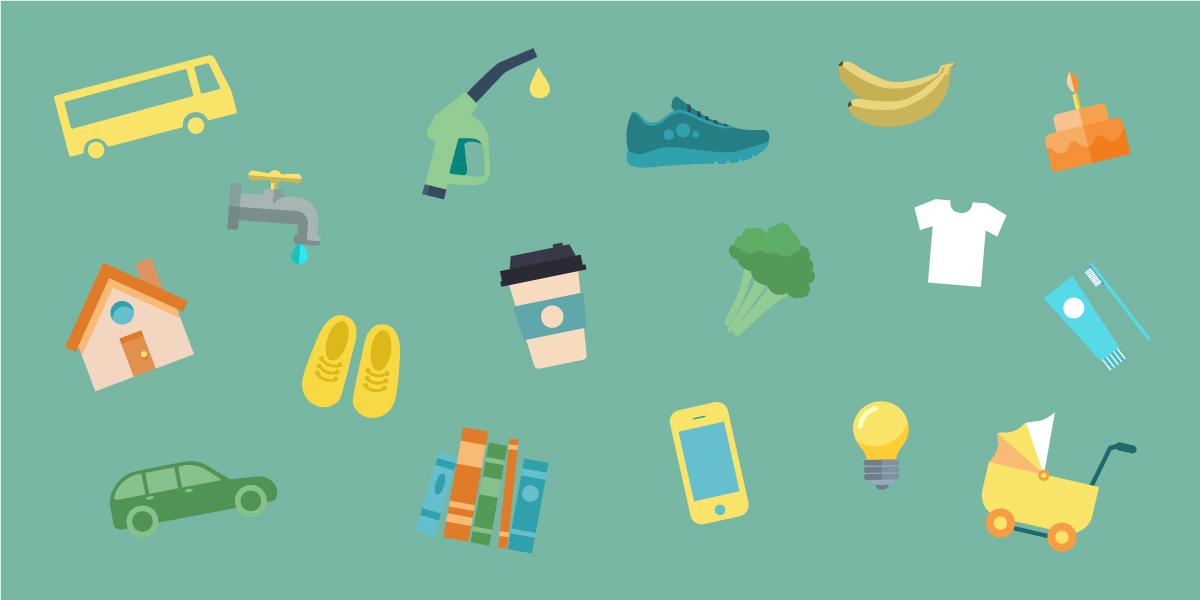 Basket of goods illustration 1200x600px